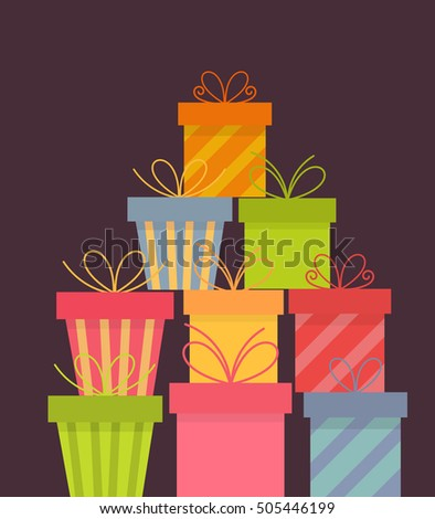 Stack of presents. Vector illustration