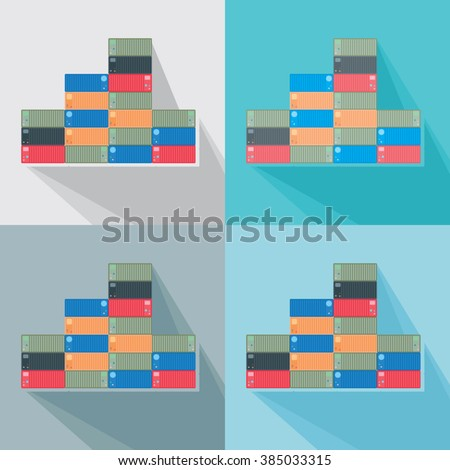 stack of shipping containers neatly folded on the shelf /  warehouse shipping containers business emblem / simple vector illustration - stock vector