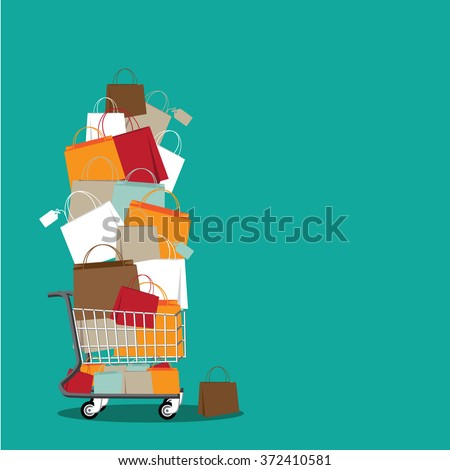 Stack of shopping bags in a cart background. EPS 10 vector stock illustration - stock vector