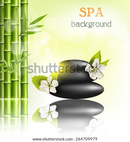 Stack of spa stones with cherry white flowers sunlight and bamboo with reflection on light-green background - stock vector