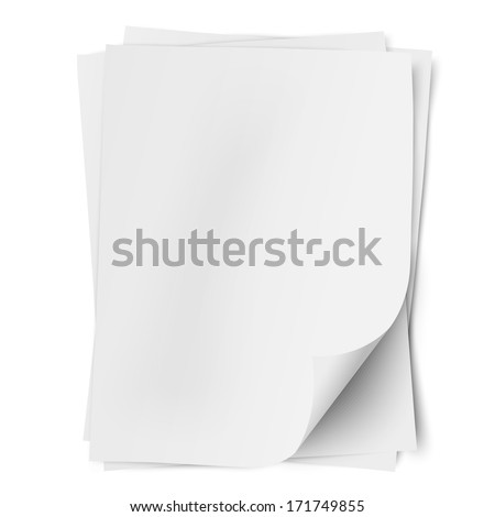 Stack of three empty white sheets of A4 paper with one deflected corner isolated - stock vector