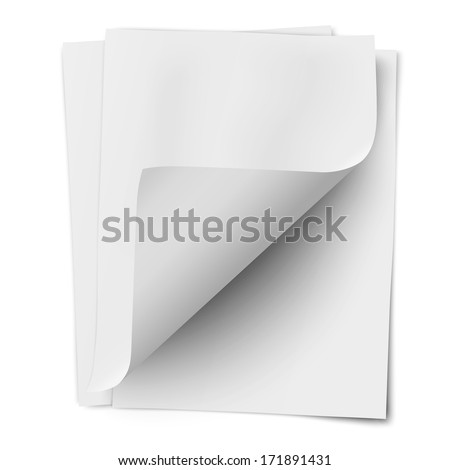 Stack of three empty white sheets of notebook paper with one deflected corner isolated on white background - stock vector