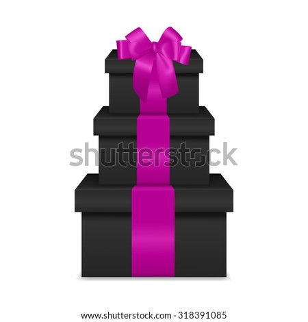 Stack of three realistic black gift boxes with pink ribbon and bow isolated on white background. Vector EPS10 illustration.  - stock vector