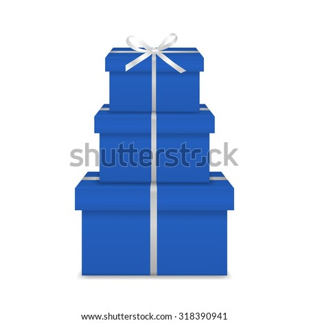 Stack of three realistic blue gift boxes with white ribbon and bow isolated on white background. Vector EPS10 illustration.  - stock vector