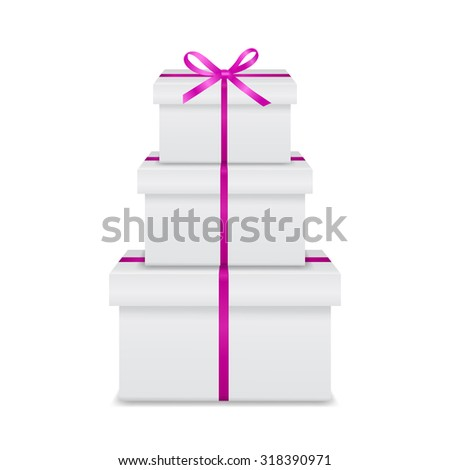 Stack of three realistic white gift boxes with pink ribbon and bow isolated on white background. Vector EPS10 illustration.  - stock vector