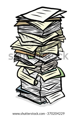 stack of used papers / cartoon vector and illustration, hand drawn style, isolated on white background. - stock vector