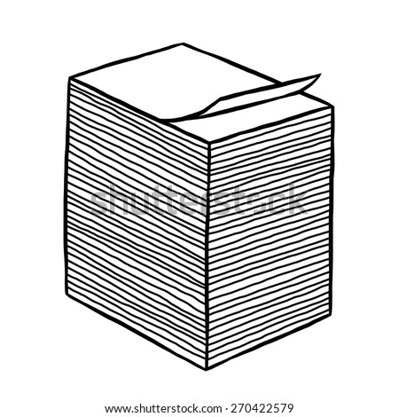 stack of white paper / cartoon vector and illustration, black and white, hand drawn, sketch style, isolated on white background. - stock vector