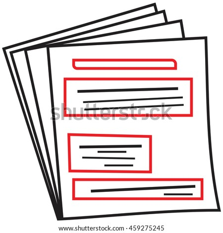Stack of white paper sheets with schematic text - stock vector