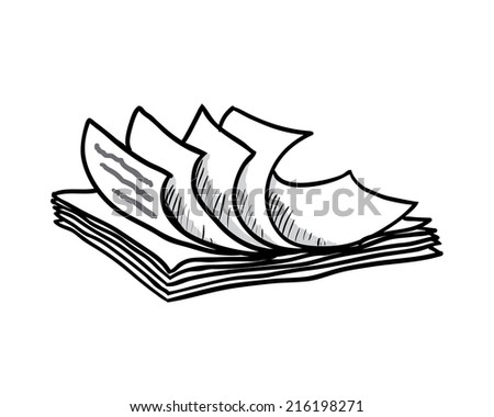 stack of white papers, hand drawn style, vector illustration - stock vector