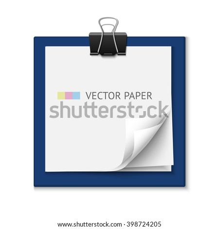 Stack of white post it note paper. Realistic vector note paper illustration. Paper sheets with curled corners