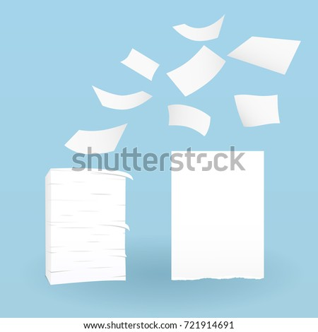 Stack of white sheets and flying ripped paper on blue background.