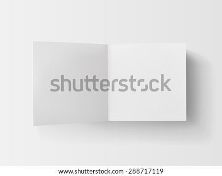 Stack of white stickers with the open page. Top view. Isolated on white.  - stock vector