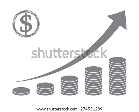 stacked coins graph , raising arrow - stock vector