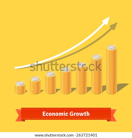 Stacked coins growth chart. Rising revenue concept. Flat style vector illustration.   - stock vector
