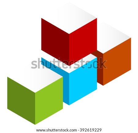 Stacked 3D cubes colorful icon on white. Isometric cubes. - stock vector