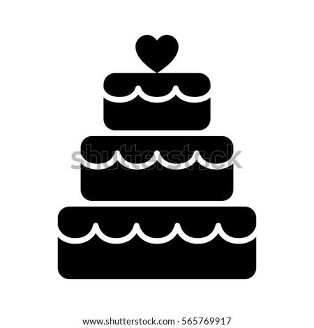 Stacked Wedding Cake Dessert Heart Topper Stock Vector 565769917