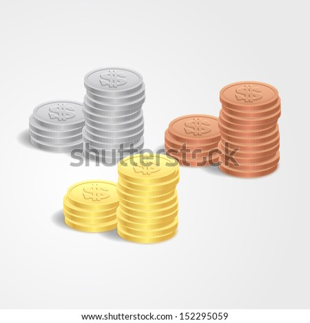 Stacks Of Coins - stock vector