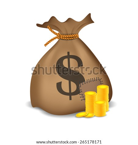 Stacks of coins and money bag.Vector illustration - stock vector