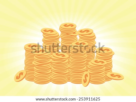 Stacks of coins on a light surface. Vector illustration - stock vector