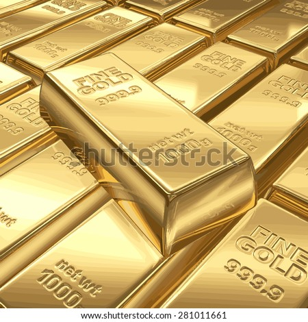 Stacks of gold bars vector illustration EPS 8. - stock vector