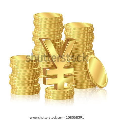 Stacks of gold coins and yen sign