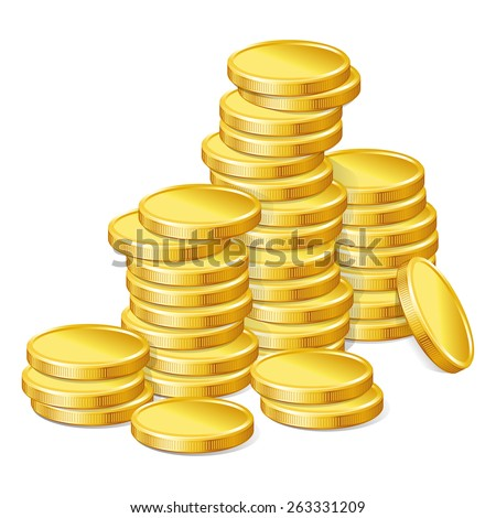 Stacks of gold coins on white background. - stock vector