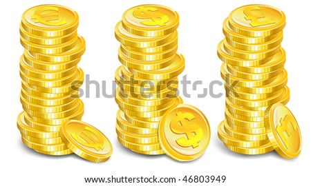 Stacks of gold coins with money symbol on white background, vector illustration
