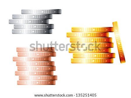 Stacks of golden, silver and bronze coins isolated on white background for finance concept design. Jpeg version also available in gallery - stock vector