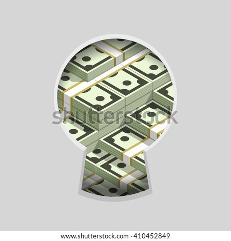 Stacks of money in keyhole color flat vector illustration, teaser spying through the key slit, very many money piles, hidden in secret wealth and millions dollars sign - stock vector