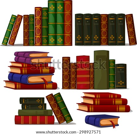 stacks of thick books - stock vector