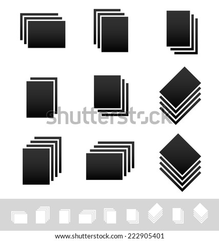 Stacks, piles of papers. Symbol set - stock vector