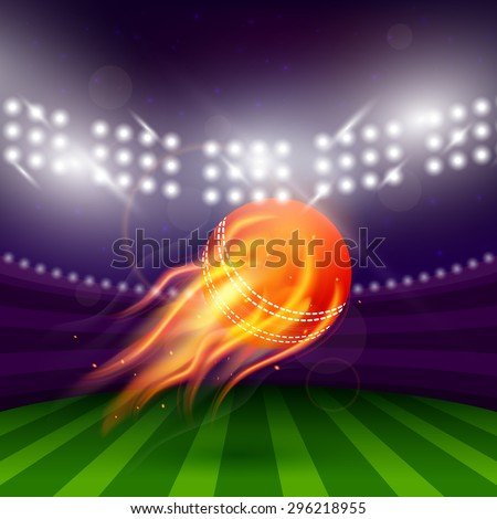 Stadium of cricket at night with flying ball in fire vector illustration - stock vector