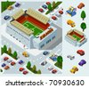 Stadium of Soccer. Set of very detailed isometric vector - stock vector