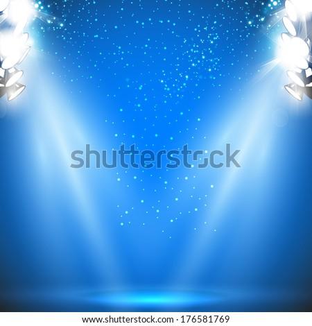 Stadium Reflector Light with Sparkling - stock vector