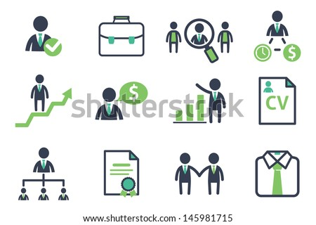 Staff recruitment icons set - stock vector