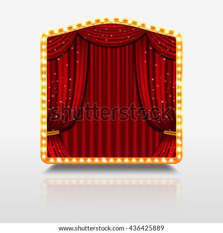 Stage curtain in shining banner with golden frame. Stage with red curtain for concert theatre, shining stage for event premiere. Vector illustration - stock vector