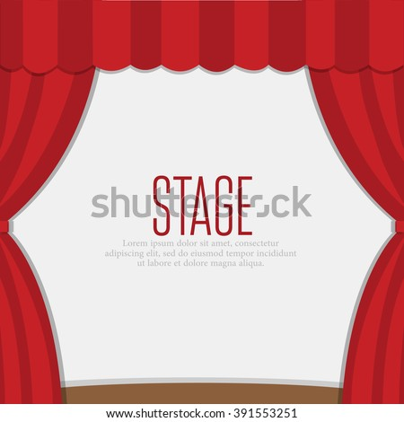 stage curtains with brown wooden floor - stock vector