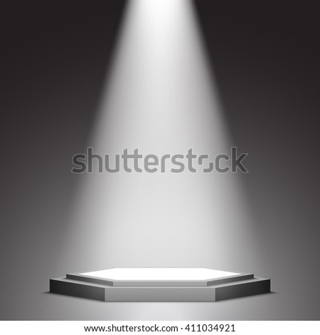 Stage for awards ceremony. Black and white podium. Pedestal. Scene. Spotlight. 3D. Vector illustration.