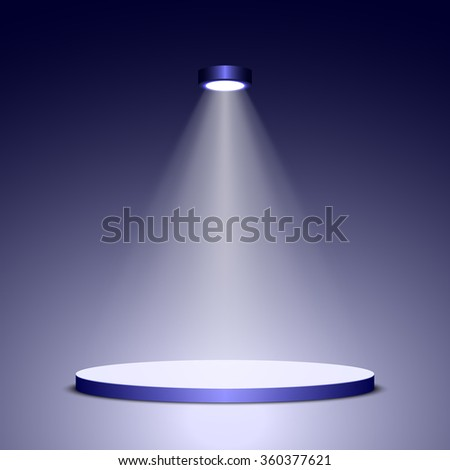 Stage for awards ceremony. Podium. Pedestal. Scene. Spotlight. 3D. Vector illustration.