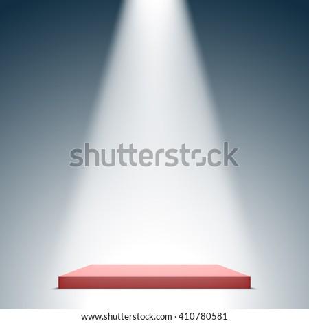 Stage for awards ceremony. Red square podium. Pedestal. Scene. Spotlight. 3D. Vector illustration. - stock vector