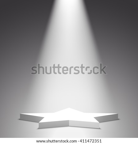 Stage for awards ceremony. Star. White podium. Pedestal. Scene. Spotlight. Vector illustration.