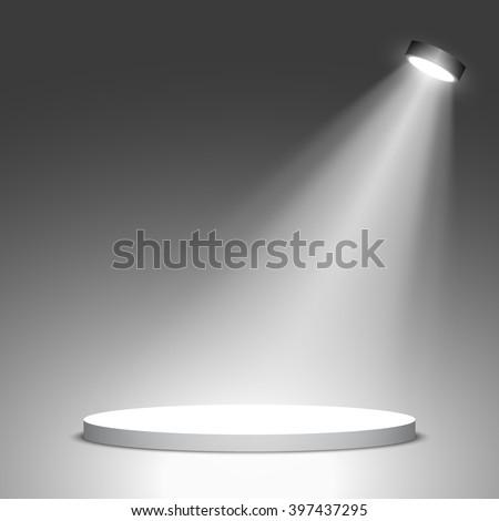Stage for awards ceremony. White podium. Pedestal. Scene. Spotlight. 3D. Vector illustration. - stock vector