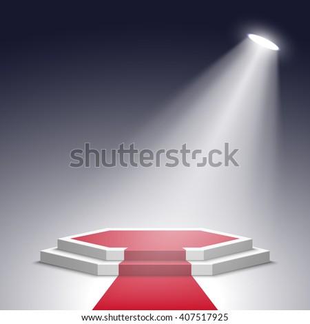 Stage for awards ceremony. White podium with red carpet. Pedestal. Scene. Spotlight. 3D. Vector illustration. - stock vector
