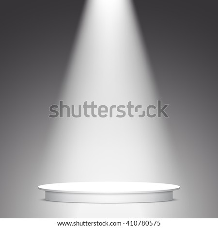 Stage for awards ceremony. White round podium. Pedestal. Scene. Spotlight. 3D. Vector illustration. - stock vector