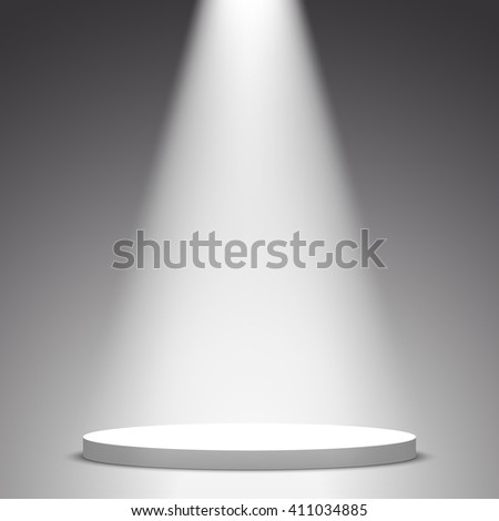 Stage for awards ceremony. White round podium. Pedestal. Scene. Spotlight. 3D. Vector illustration.