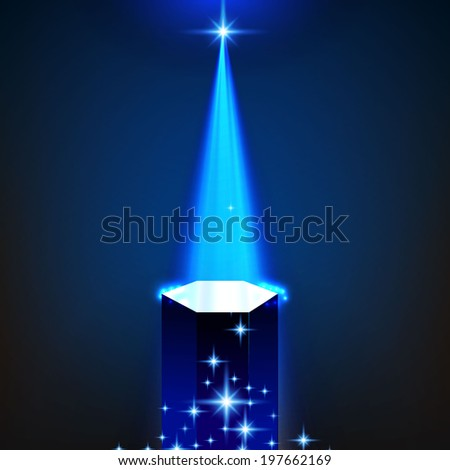 Stage Illuminated By Spotlight. Vector Illustration  - stock vector