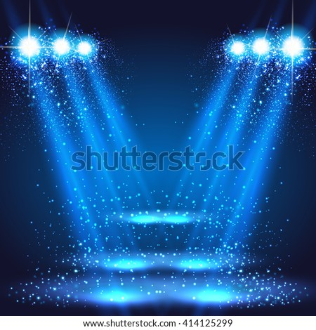 stage, light, spotlights shining in dark place background easy editable - stock vector