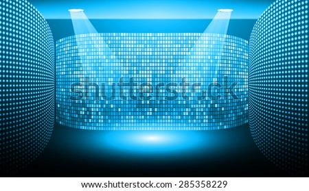 Stage Lighting blue Background with Spot Light Effects, vector illustration. Abstract light lamps background for Technology computer graphic website internet and business.  - stock vector