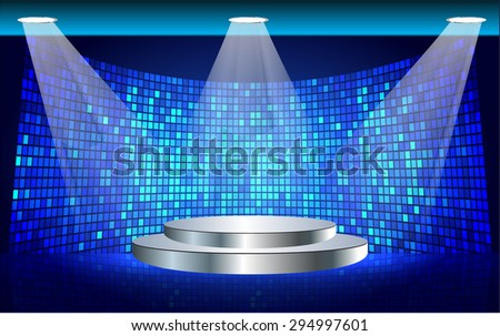 Stage Lighting blue Background with Spot Light Effects, vector illustration. Abstract light lamps background for Technology computer graphic website internet business. screen,movie,cinema - stock vector