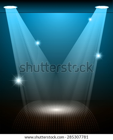 Stage Lighting blue brown Background with Spot Light Effects, vector illustration. Abstract light lamps background for Technology computer graphic website internet and business.  - stock vector